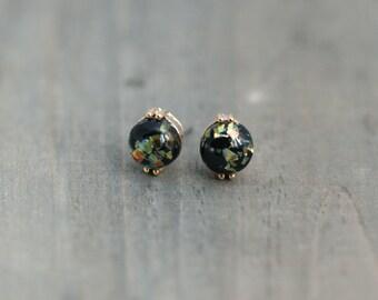 Black Fire Opal Post Earrings / Titanium Posts in gold / Nickel Free Earrings