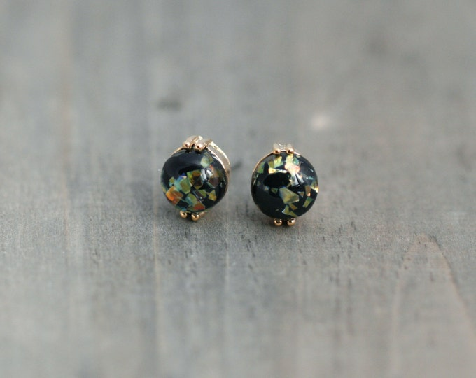 Black Fire Opal Post Earrings / Titanium Posts in gold / Nickel Free Earrings