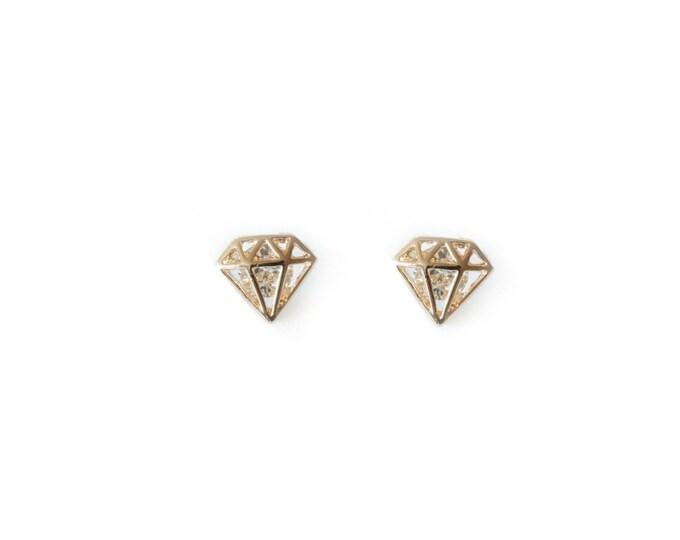 Gold Diamond Shape Cutout Post Earring / wedding earrings / bridesmaid earrings