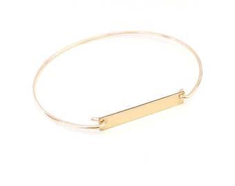 Personalized Bar bracelet / 14k Gold filled Bar Bracelet