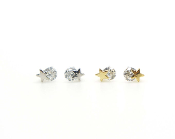 Tiny star Earrings with CZ / Nickel Free Earrings