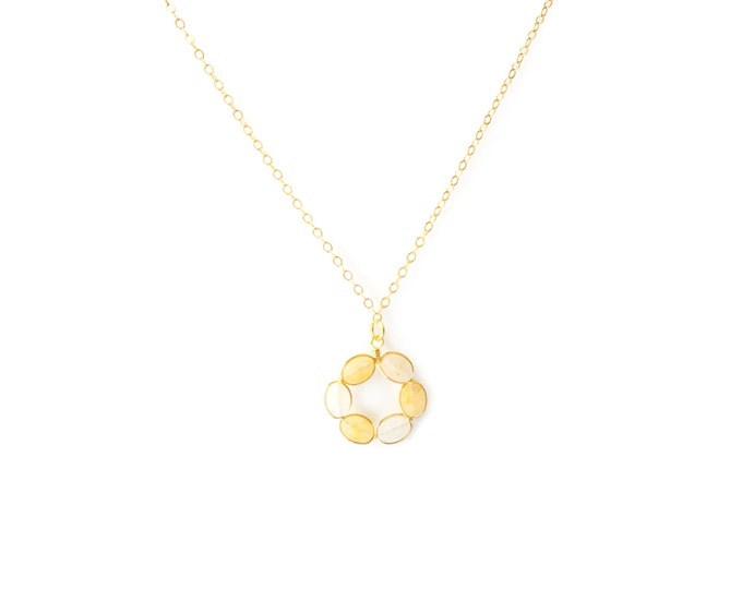 Open Circle Yellow Jade Necklace