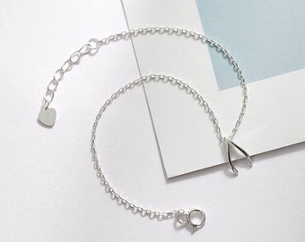 925 Sterling Silver Wishbone Bracelet / Tiny Silver Wishbone Bracelete