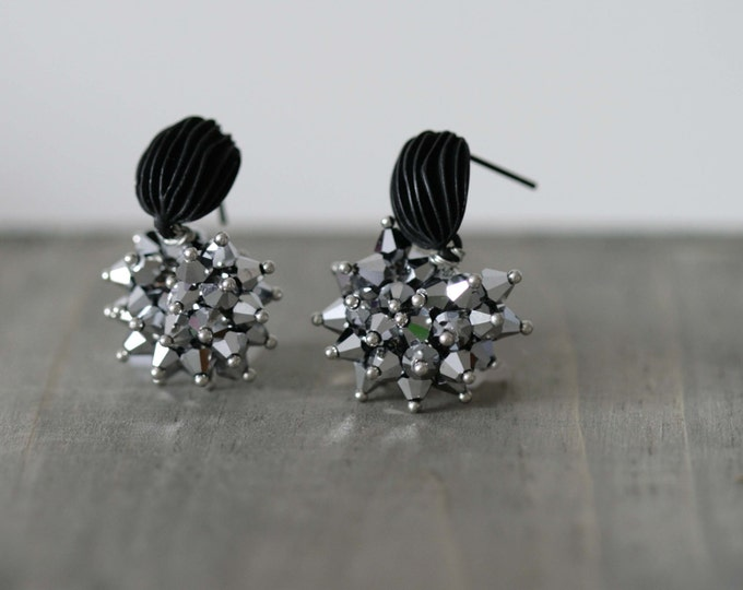 Silver Swarovski Bead Dangle Earring