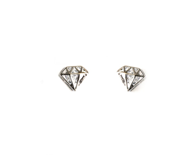 Silver Diamond Shape Cutout Post Earring
