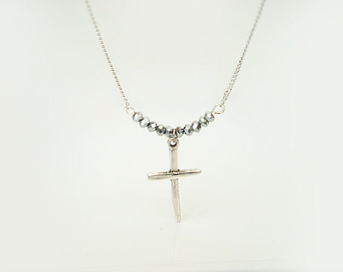 Sterling Silver Plated Cross with tiny beads Necklace /goddaughter, baptism gift
