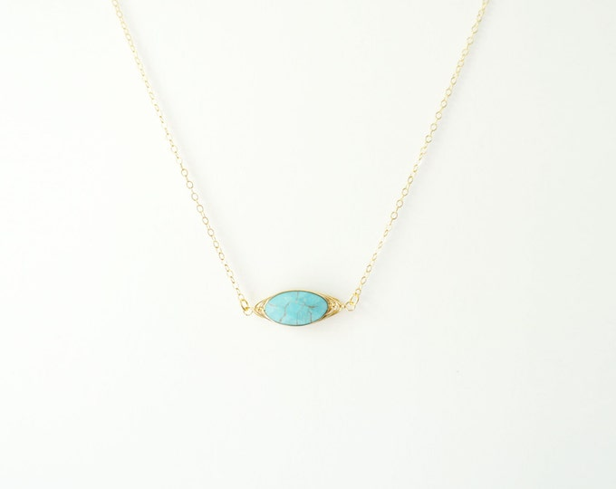 Faceted Oval Gemstone on 14K Gold Filled / Turquoise Necklace