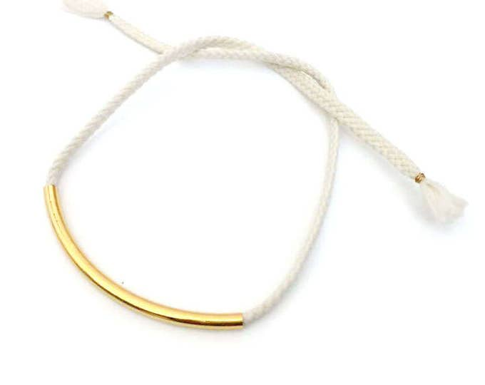 Gold Curved Bar Necklace / Bracelet