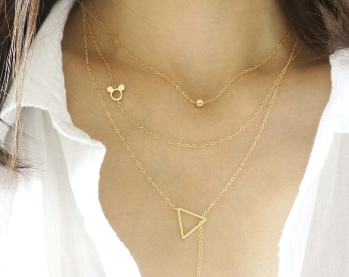 Simple Delicate Layered Gold Necklaces