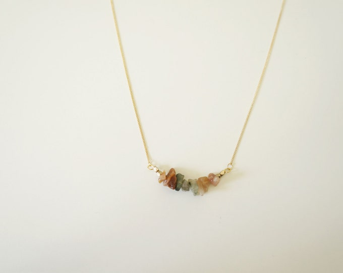 Neutral Gemstone Gold Necklace