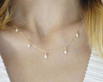 Wire Wrapped Necklace with Tiny Pearl