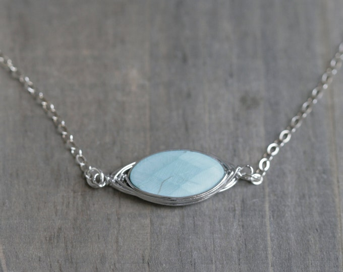 Faceted Oval Gemstone Sterling Silver
