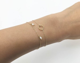 Mini Circle Bracelet /Delicate Chain /Layered bracelet