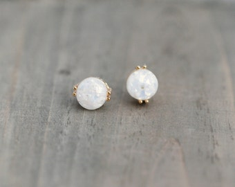 White Fire Opal Post Earrings / Titanium Posts in gold / Nickel Free Earrings