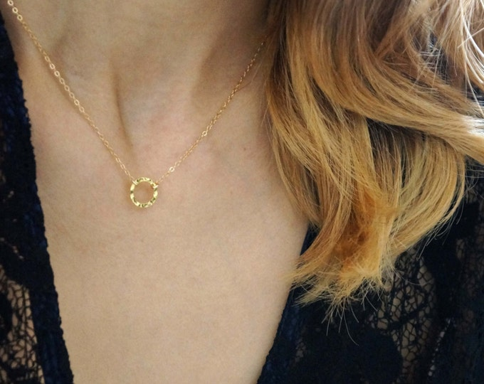 Hammered Small  Circle Necklace