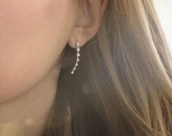 Silver CZ Ear Climber Post earrings