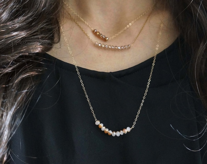 Minimal glass bead layered necklace