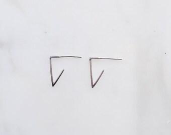 V Silver Earrings