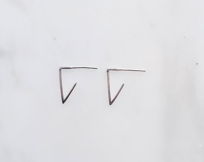 V Silver Earrings