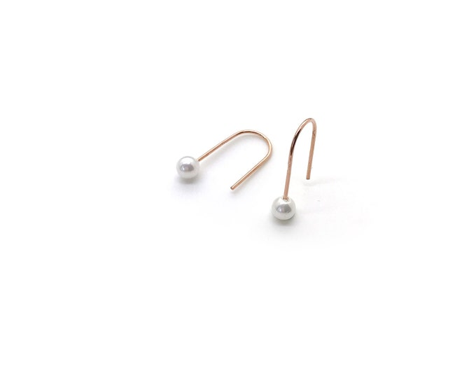 Simple Pearl Line Earrings