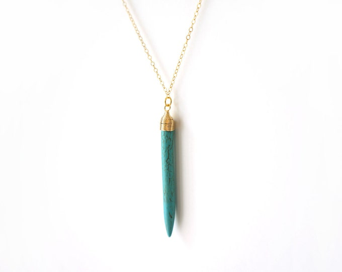 Gold Filled Long Gold Turquoise Horn Tusk Necklace