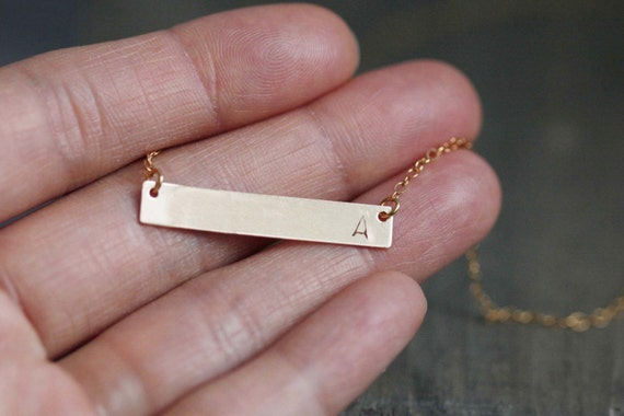 14K Gold Filled Personalized Gold Bar Necklace / initial necklace