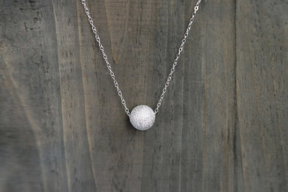 Sand Blasted Silver Ball Pendant Necklace