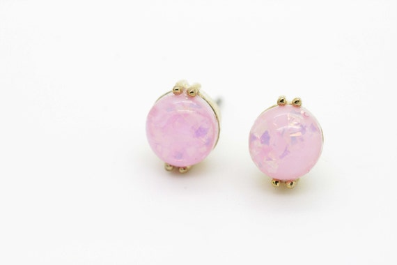 Pink Fire Opal Post Earrings