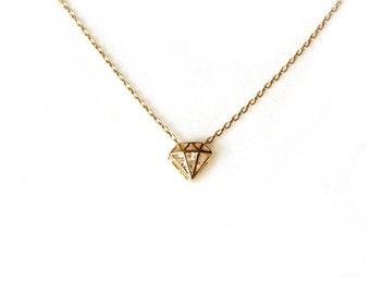 Gold Diamond Shape Cutout pendant necklace