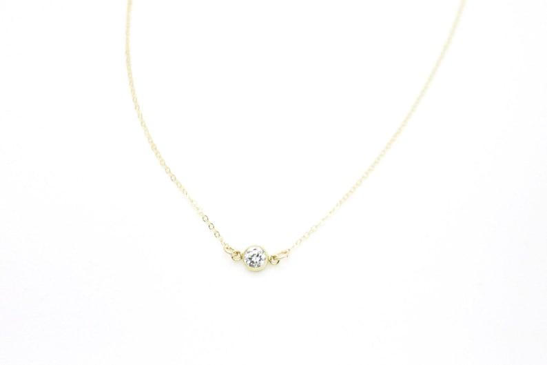 CZ Diamond Necklace/Gold fill CZ Diamond Necklace /Solitaire image 0