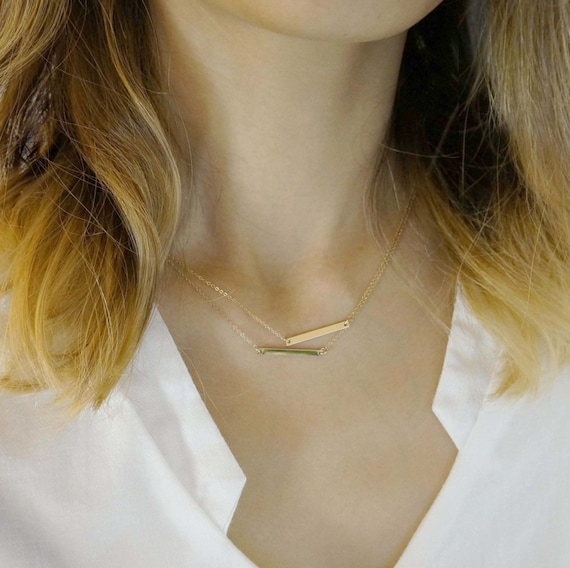 Double Thin bars linked Gold Filled Necklaces / delicate bar necklace