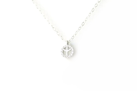 Tiny CZ Peace Silver Pendant Necklace