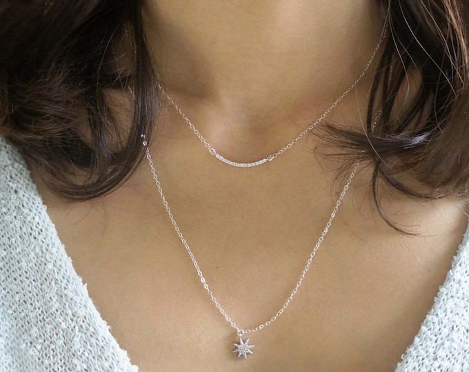 Silver Layering Necklace Set