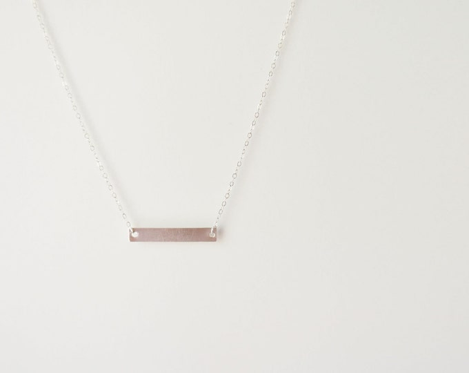 Sterling Silver Personalized Silver Bar Necklace