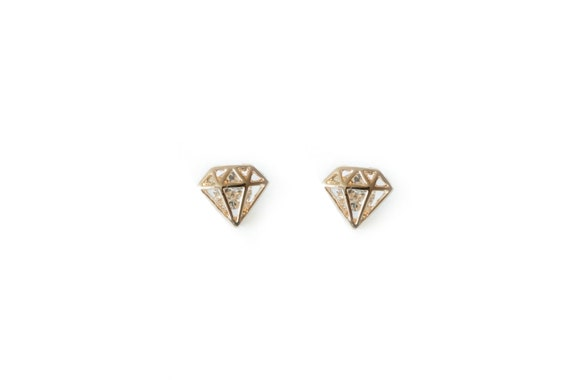 Gold Diamond Shape Cutout Post Earring / wedding earrings / bridesmaid earrings
