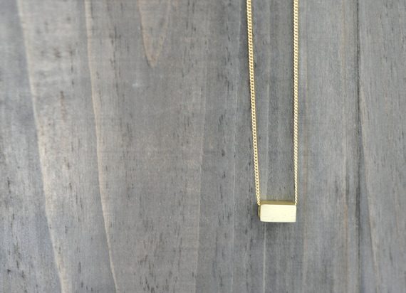 Gold Silver Minimalist Bar Necklace