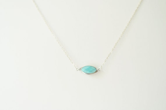 Faceted Oval Gemstone on Sterling Silver / Turquoise Necklace