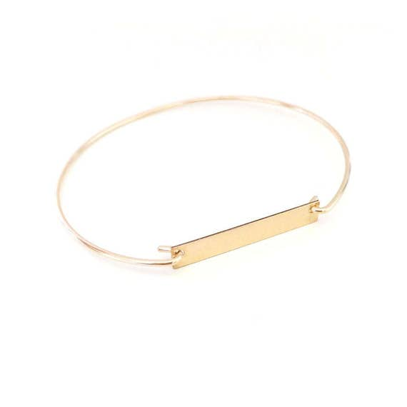 Personalized Bar bracelet / 14k Gold filled Bar Bracelet