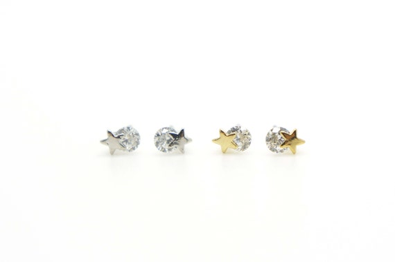 Tiny star Earrings with CZ / Nickel Free Earrings