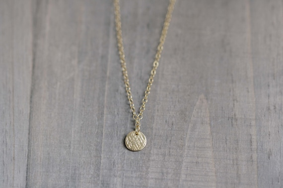 Gold Vermeil Tiny Textured Disc Necklace