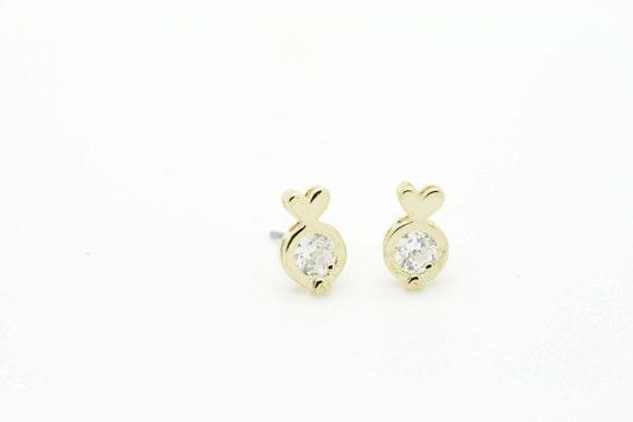 Tiny Single Stone Stud Earrings