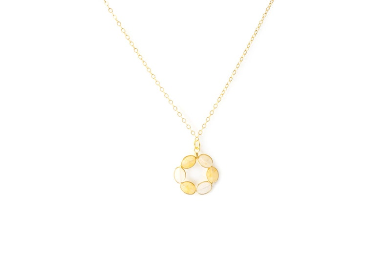 Open Circle with Gemstone on 14K Gold Filled / Yellow Jade image 1