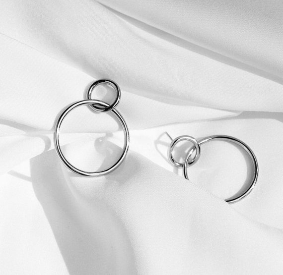 Sterling silver Linked Circles  Earring