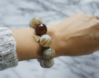 Round & Faceted Agate Bracelet