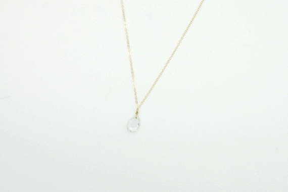 Clear Glass Teardrop Necklace