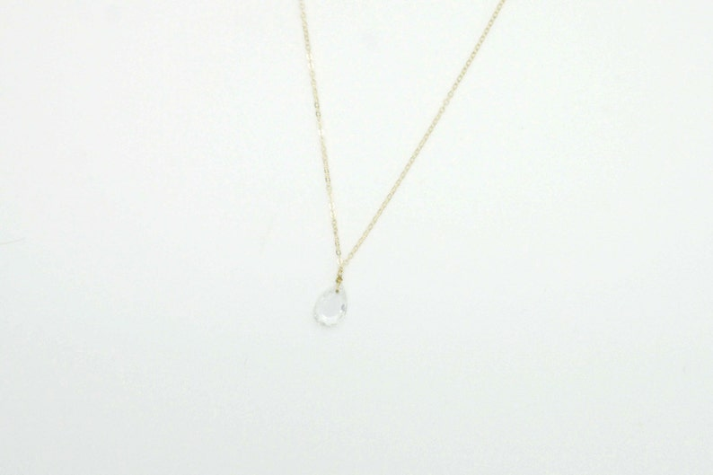 Clear Glass Teardrop Necklace / Delicate Simple Long Necklace image 0