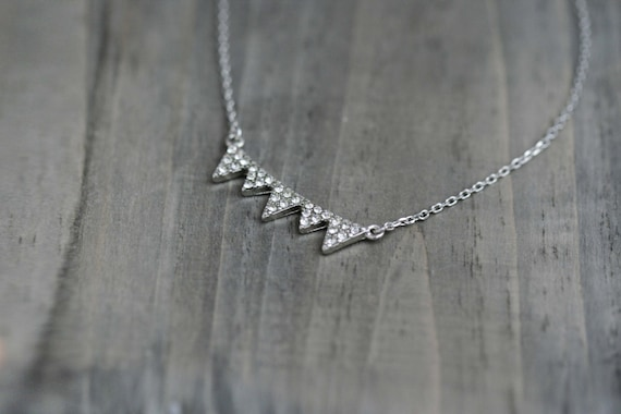 Rhinestone Triangles Necklace with Sterling Silver necklace