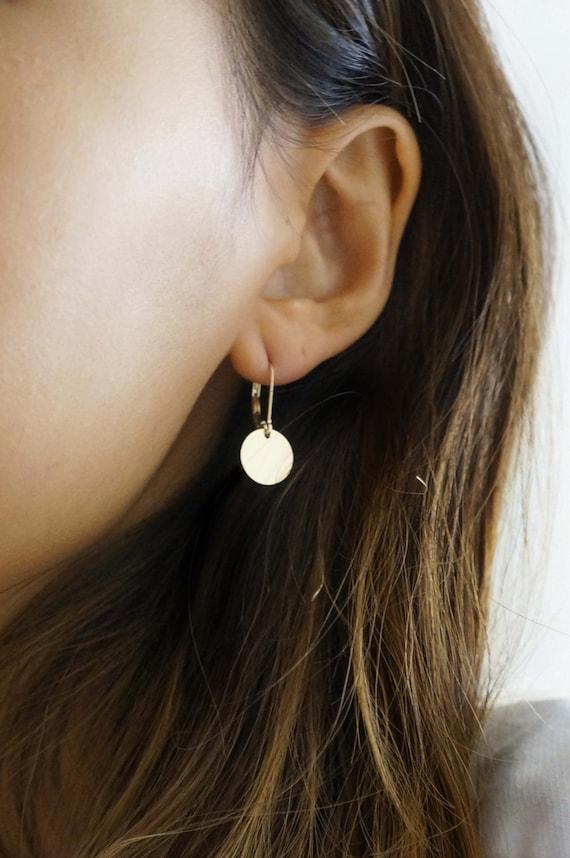 14k Gold Filled Disc Drop Earrings / Silver Disc