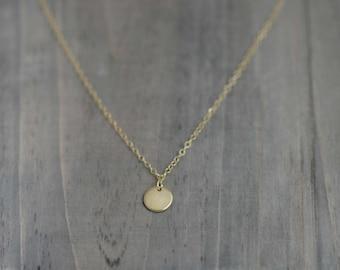 Gold Filled Tiny Dot Necklace / Tiny disc necklace
