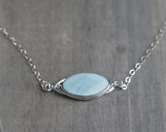 Faceted Oval Gemstone 925 Sterling Silver / Turquoise Necklace